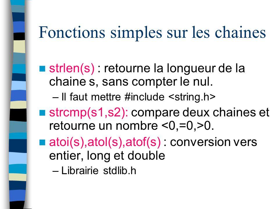 Fonctions simples sur les chaines
