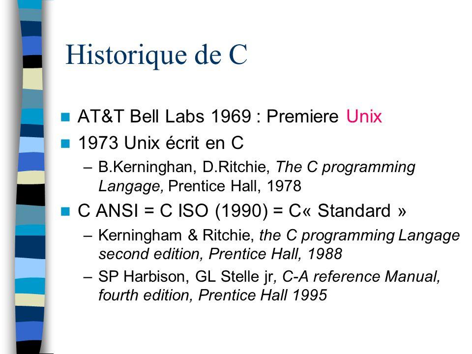 Historique de C AT&T Bell Labs 1969 : Premiere Unix