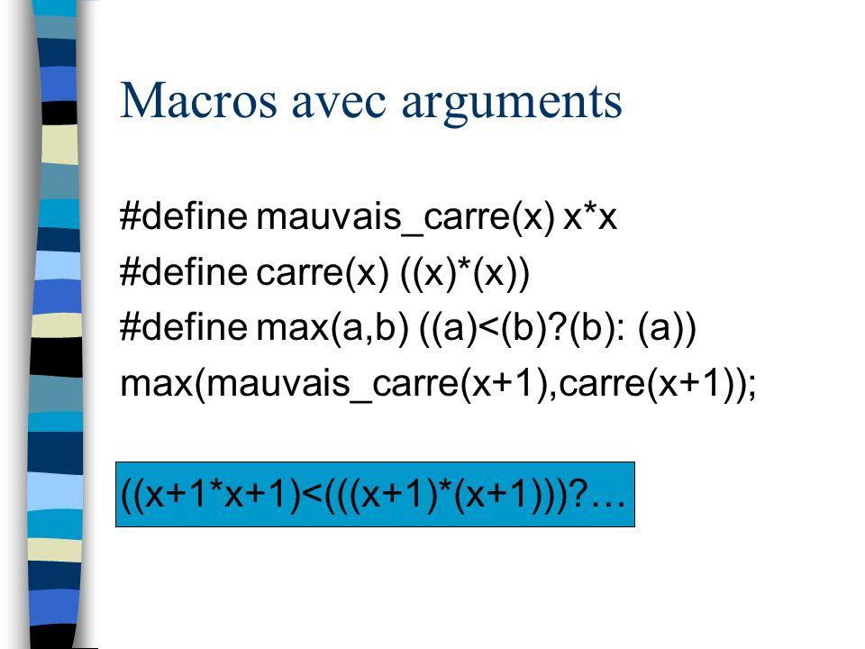 Macros avec arguments #define mauvais_carre(x) x*x