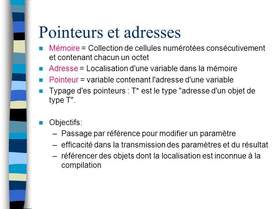 Pointeurs et adresses Mémoire = Collection de cellules numérotées consécutivement et contenant chacun un octet.