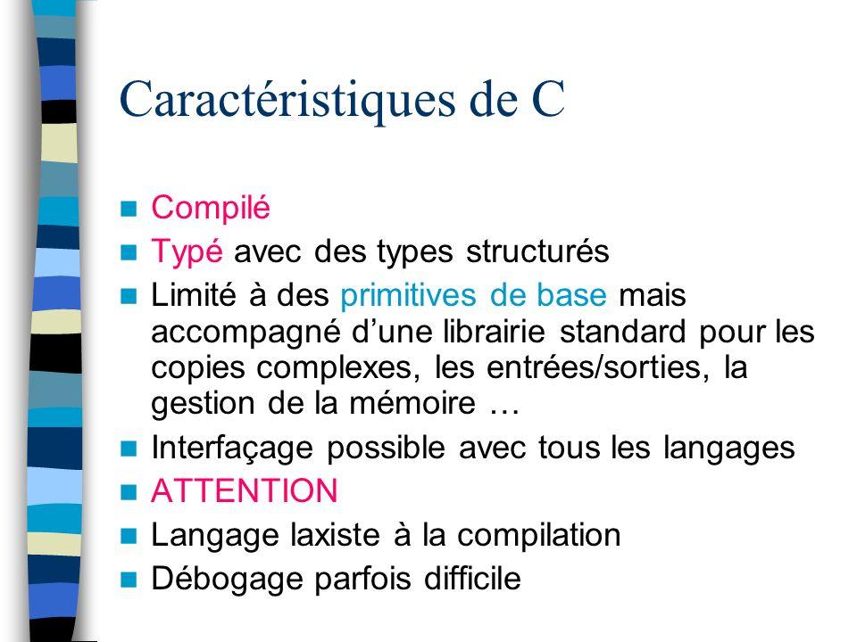 Caractéristiques de C Compilé Typé avec des types structurés