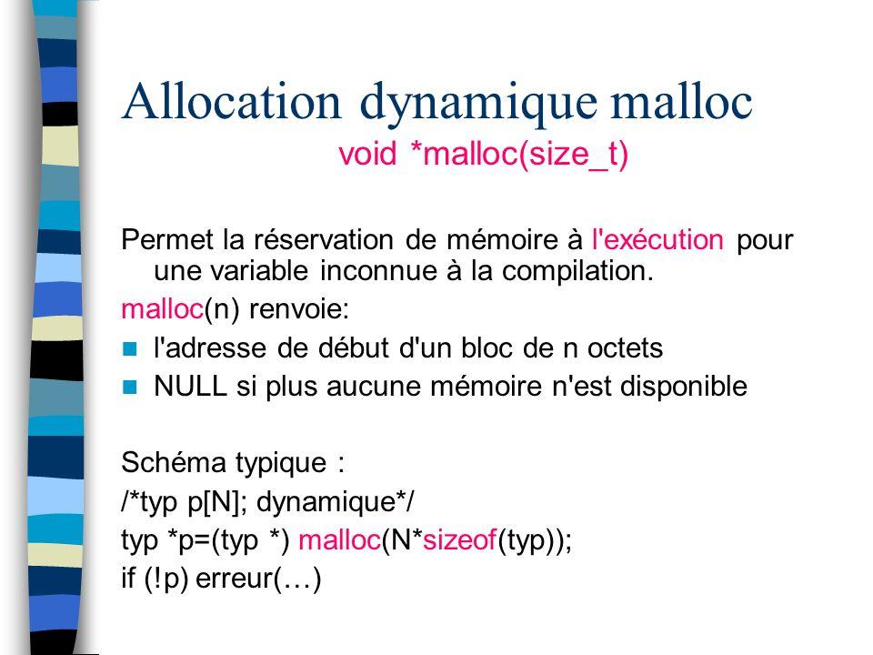 Allocation dynamique malloc