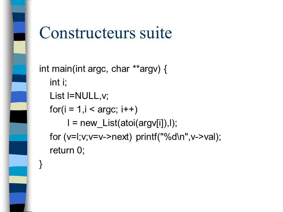 Constructeurs suite int main(int argc, char **argv) { int i;