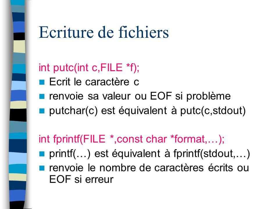 Ecriture de fichiers int putc(int c,FILE *f); Ecrit le caractère c
