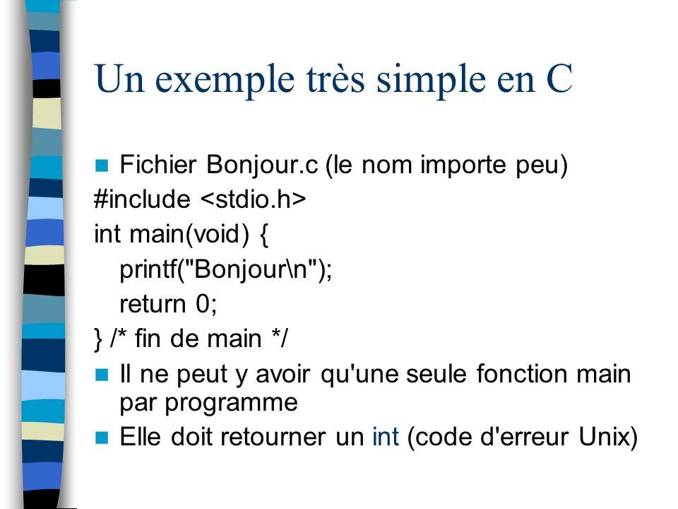 Un exemple très simple en C