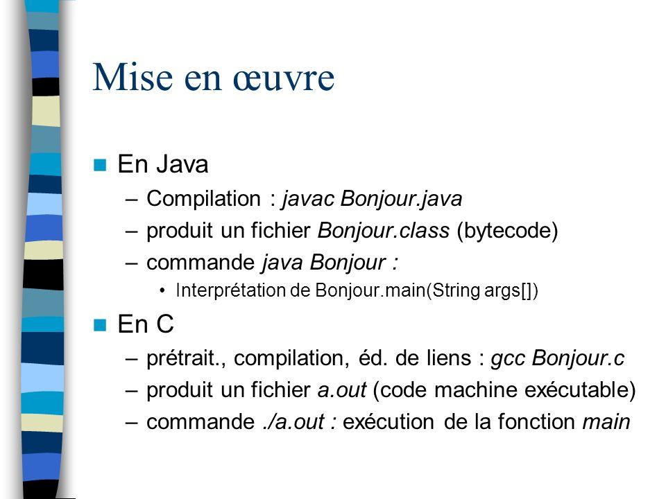 Mise en œuvre En Java En C Compilation : javac Bonjour.java