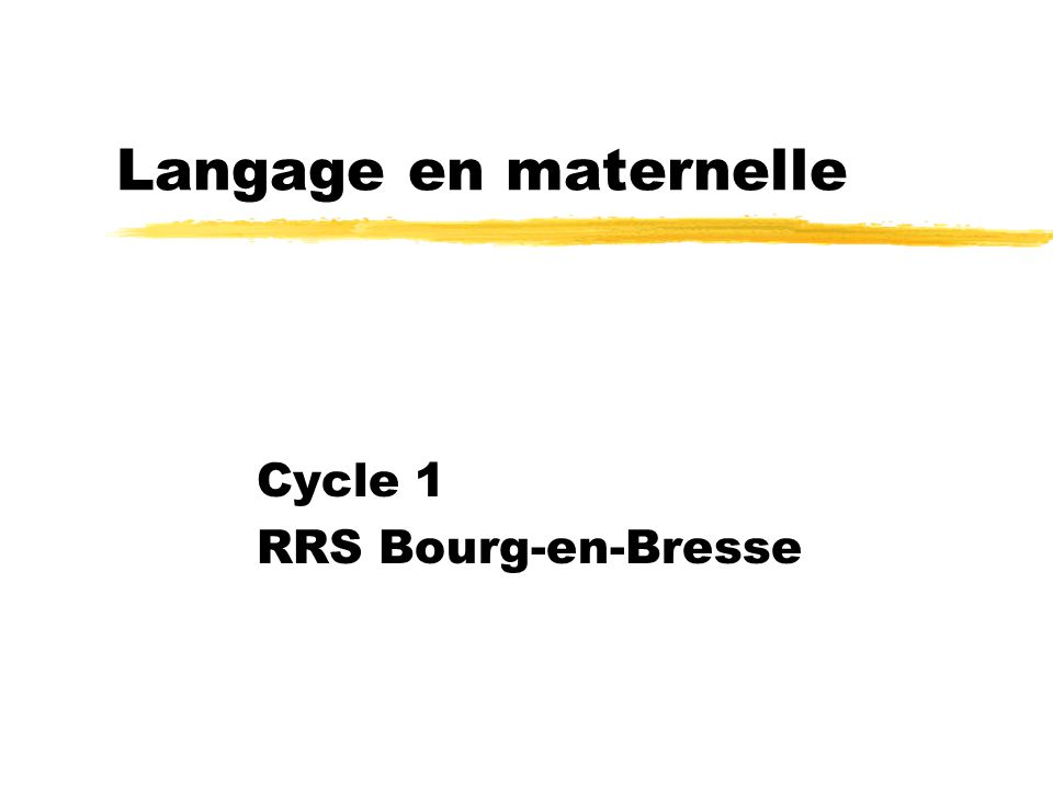 Cycle 1 RRS Bourg-en-Bresse