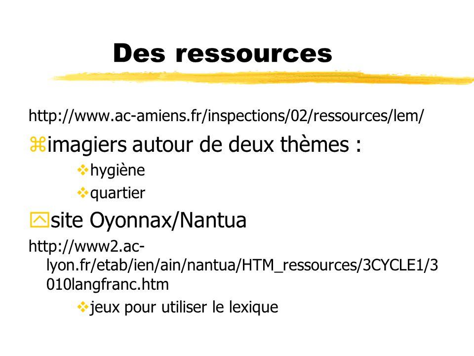 Des ressources imagiers autour de deux thèmes : site Oyonnax/Nantua