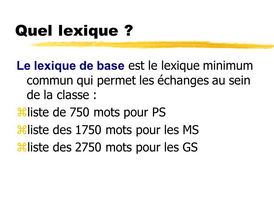 Quel lexique Le lexique de base est le lexique minimum commun qui permet les échanges au sein de la classe :