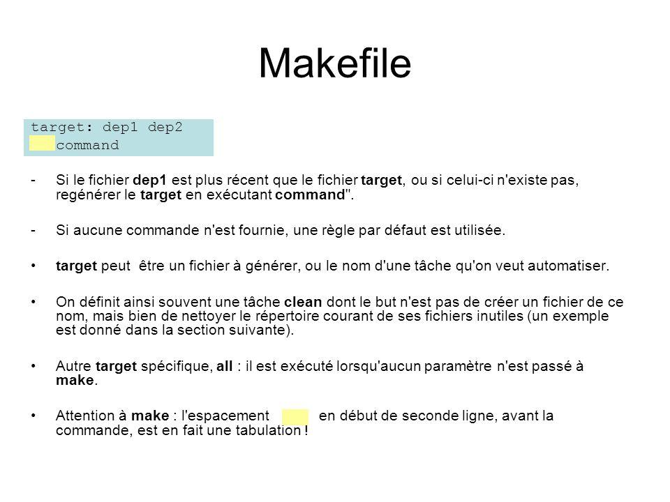 Makefile target: dep1 dep2 command