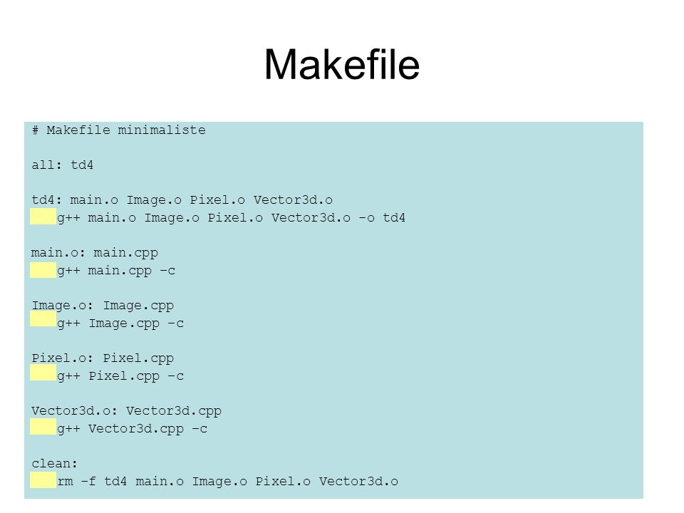 Makefile # Makefile minimaliste all: td4