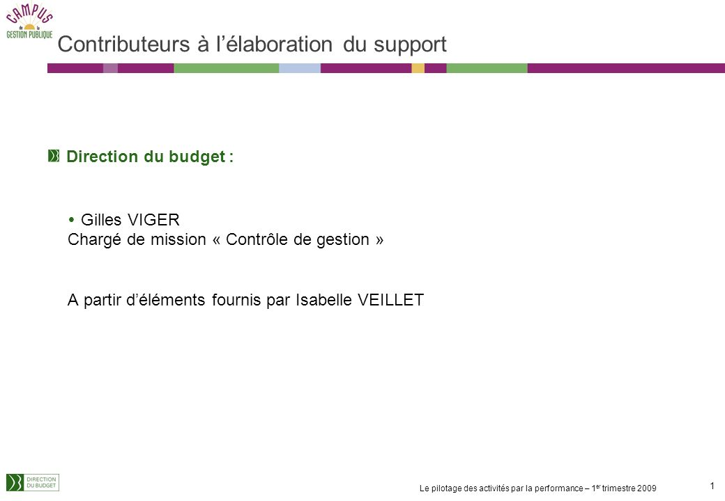 Contributeurs à l'élaboration du support
