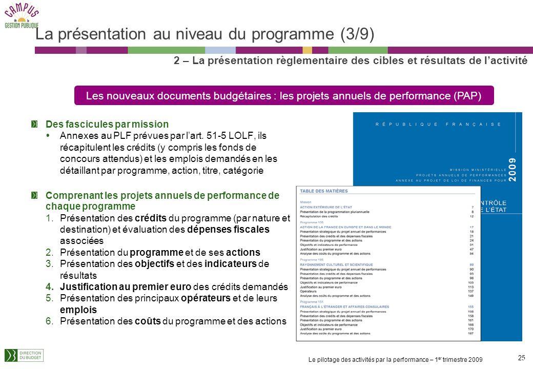 La présentation au niveau du programme (3/9)