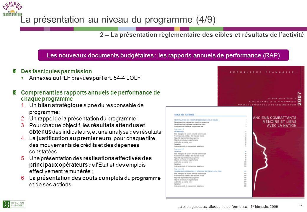La présentation au niveau du programme (4/9)