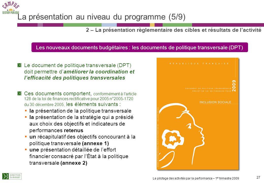 La présentation au niveau du programme (5/9)
