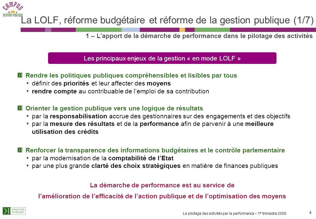 La LOLF, réforme budgétaire et réforme de la gestion publique (1/7)