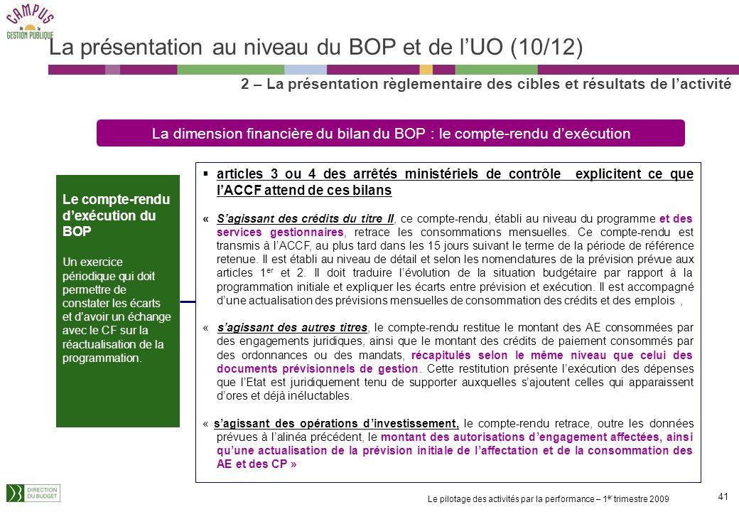 La présentation au niveau du BOP et de l'UO (10/12)