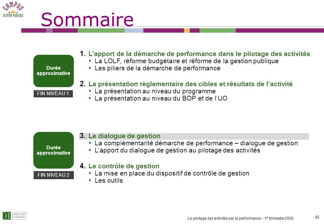 Sommaire L'apport de la démarche de performance dans le pilotage des activités. La LOLF, réforme budgétaire et réforme de la gestion publique.