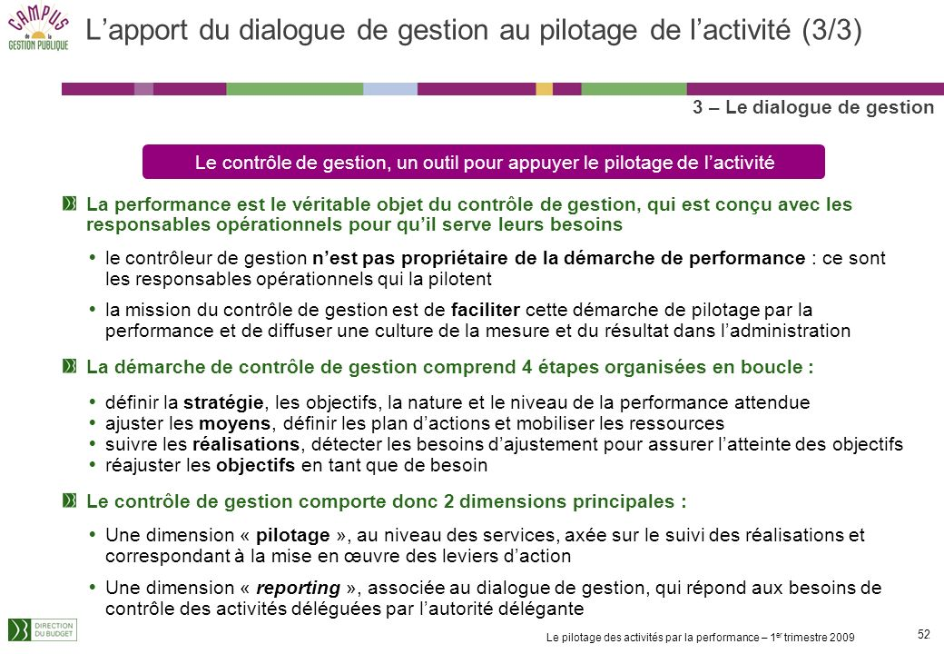 L'apport du dialogue de gestion au pilotage de l'activité (3/3)
