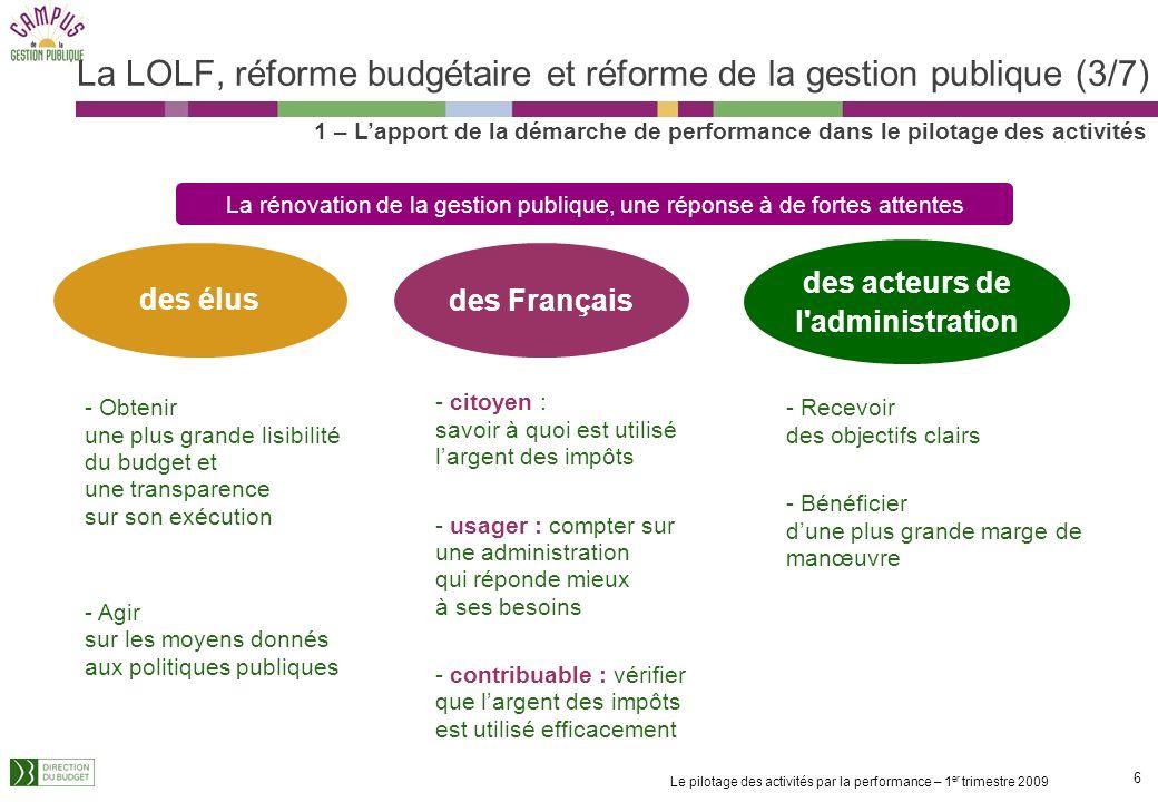 La LOLF, réforme budgétaire et réforme de la gestion publique (3/7)