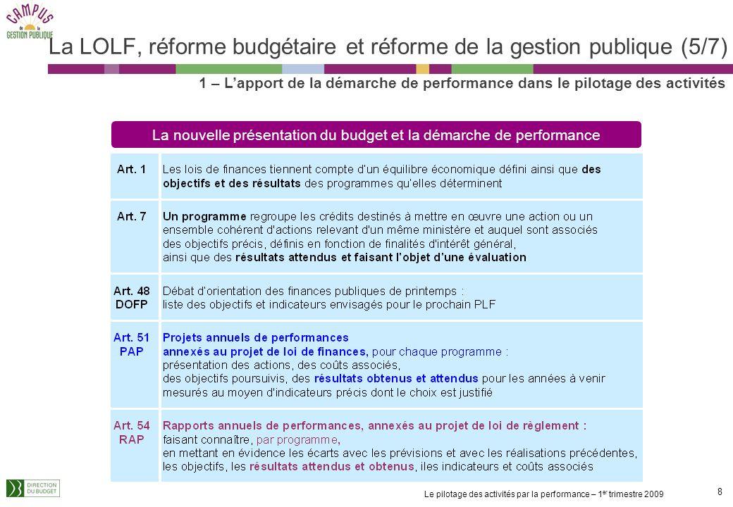 La LOLF, réforme budgétaire et réforme de la gestion publique (5/7)