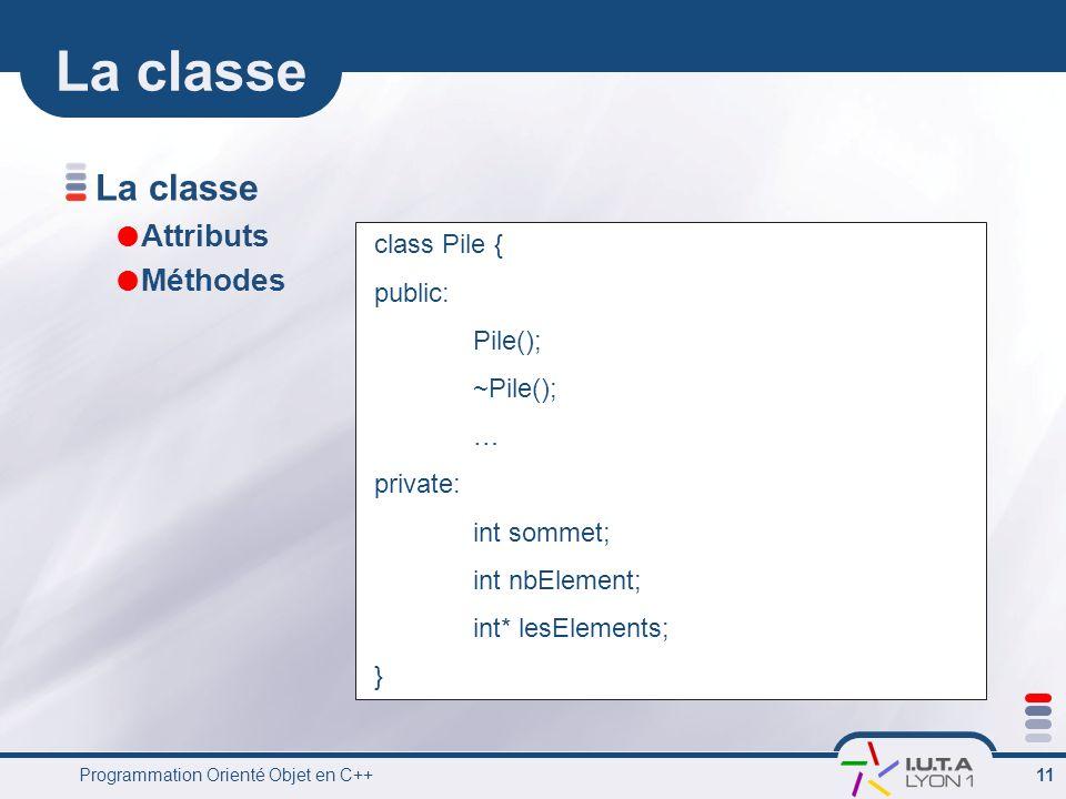 La classe La classe Attributs Méthodes class Pile { public: Pile();