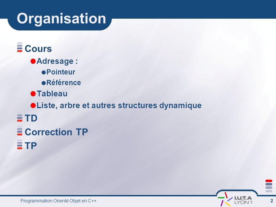Organisation Cours TD Correction TP TP Adresage : Tableau