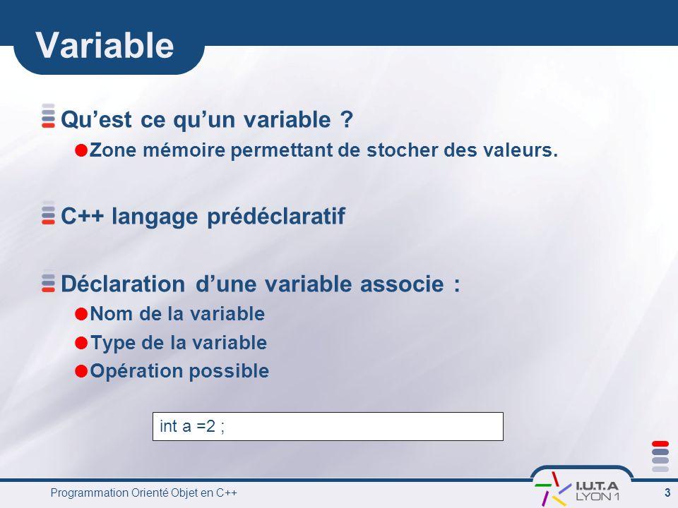 Variable Qu'est ce qu'un variable C++ langage prédéclaratif