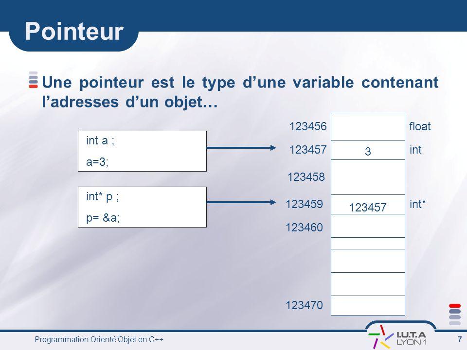 PointeurUne pointeur est le type d'une variable contenant l'adresses d'un objet… 3. 123457. 123456.