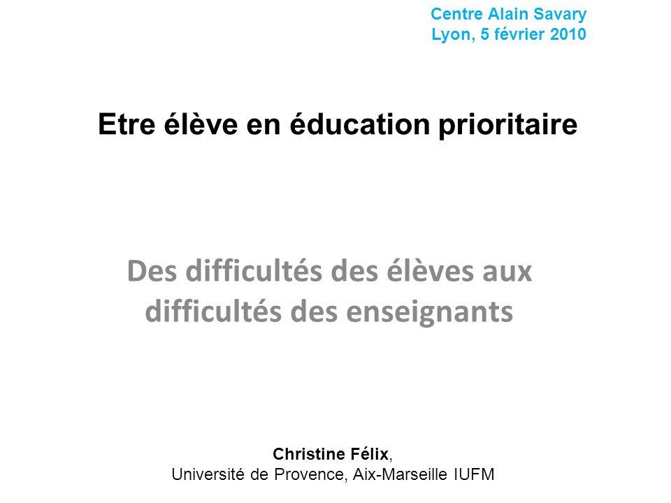 Etre élève en éducation prioritaire