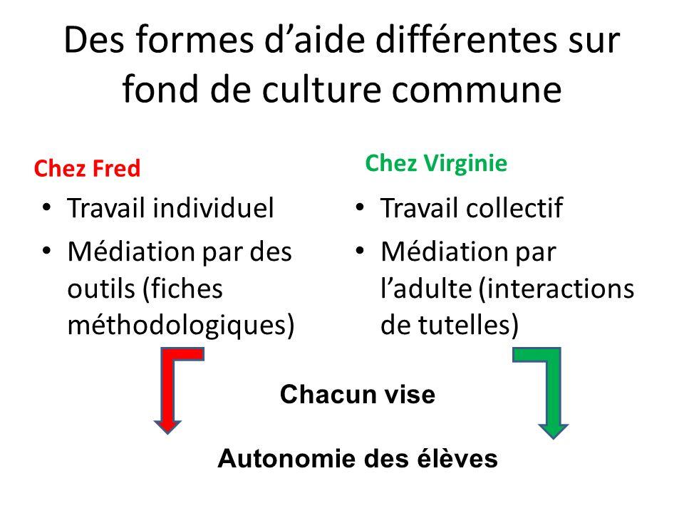 Des formes d'aide différentes sur fond de culture commune