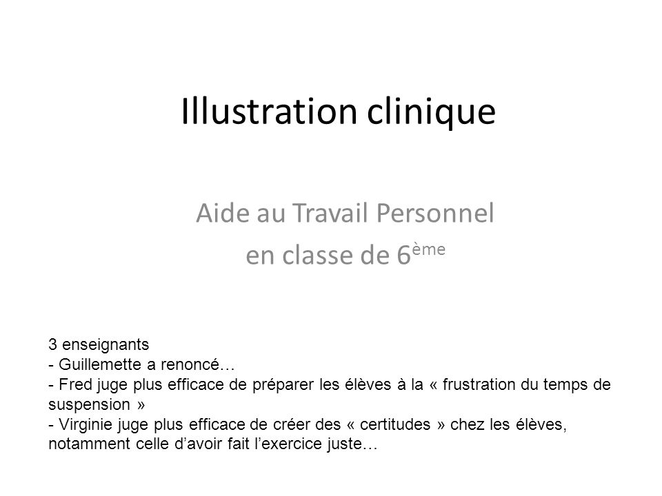 Illustration clinique