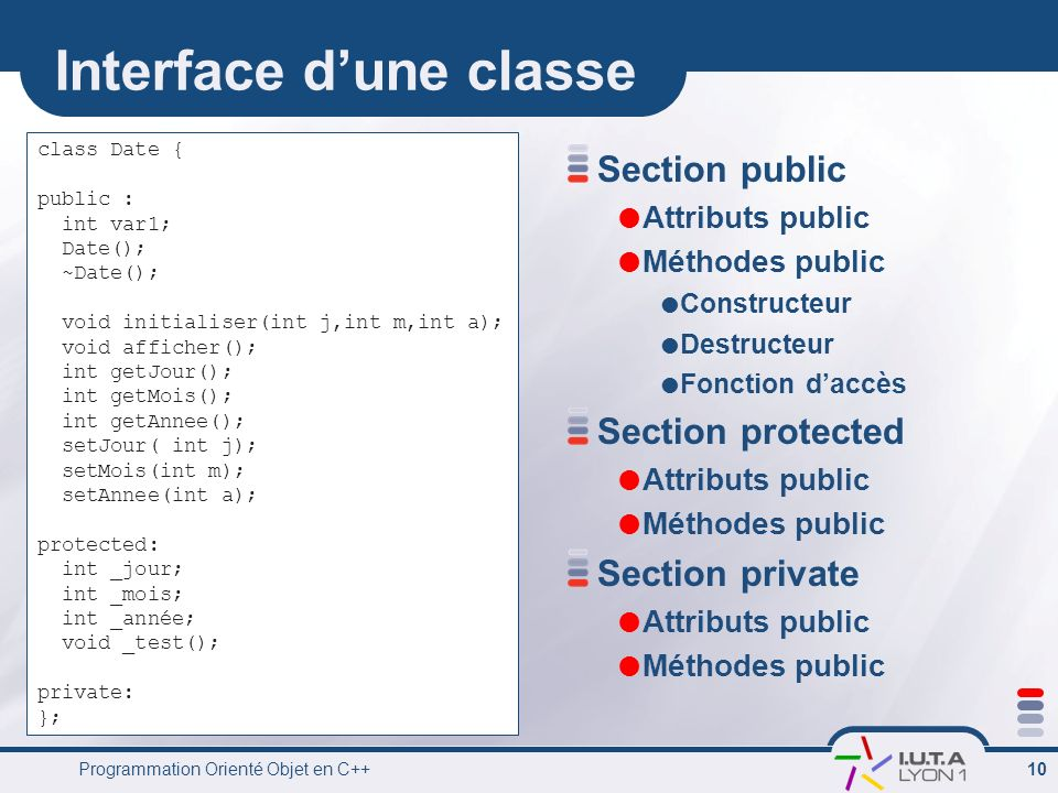 Interface d'une classe
