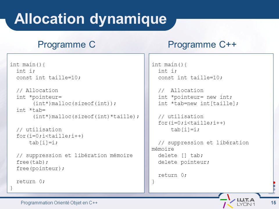 Allocation dynamique Programme C Programme C++ int main(){ int i;