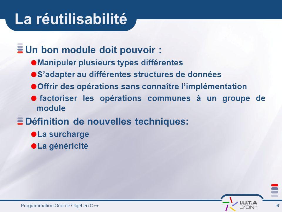 La réutilisabilité Un bon module doit pouvoir :