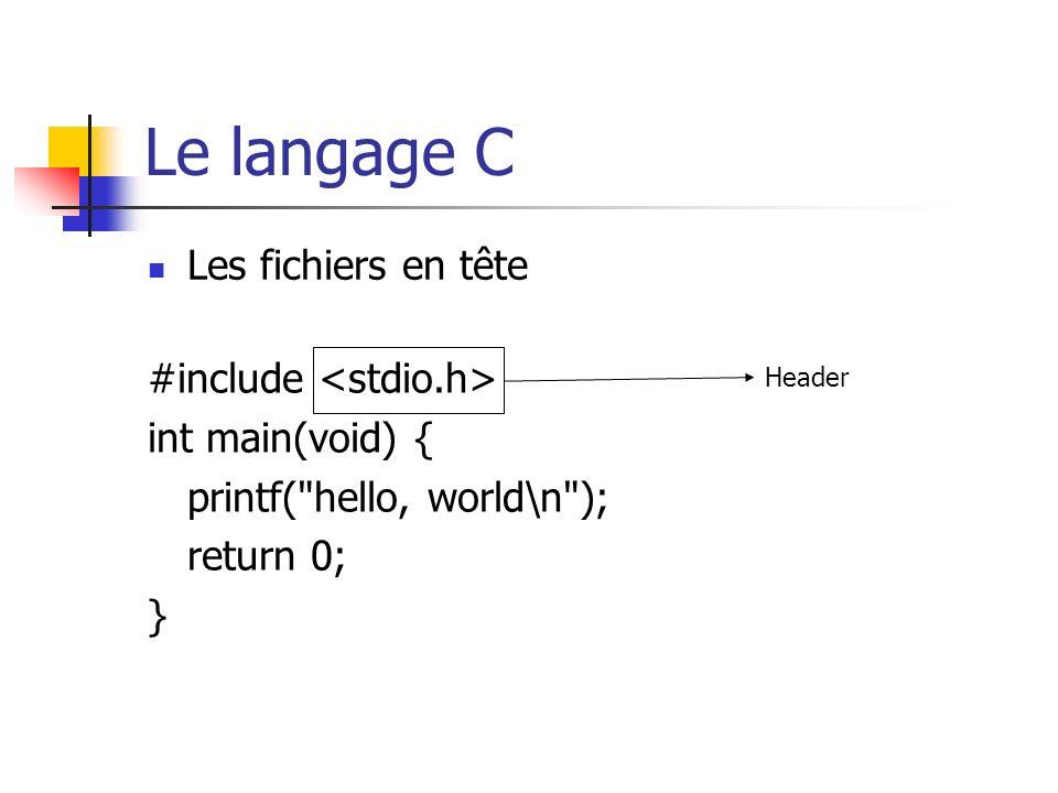 Le langage C Les fichiers en tête