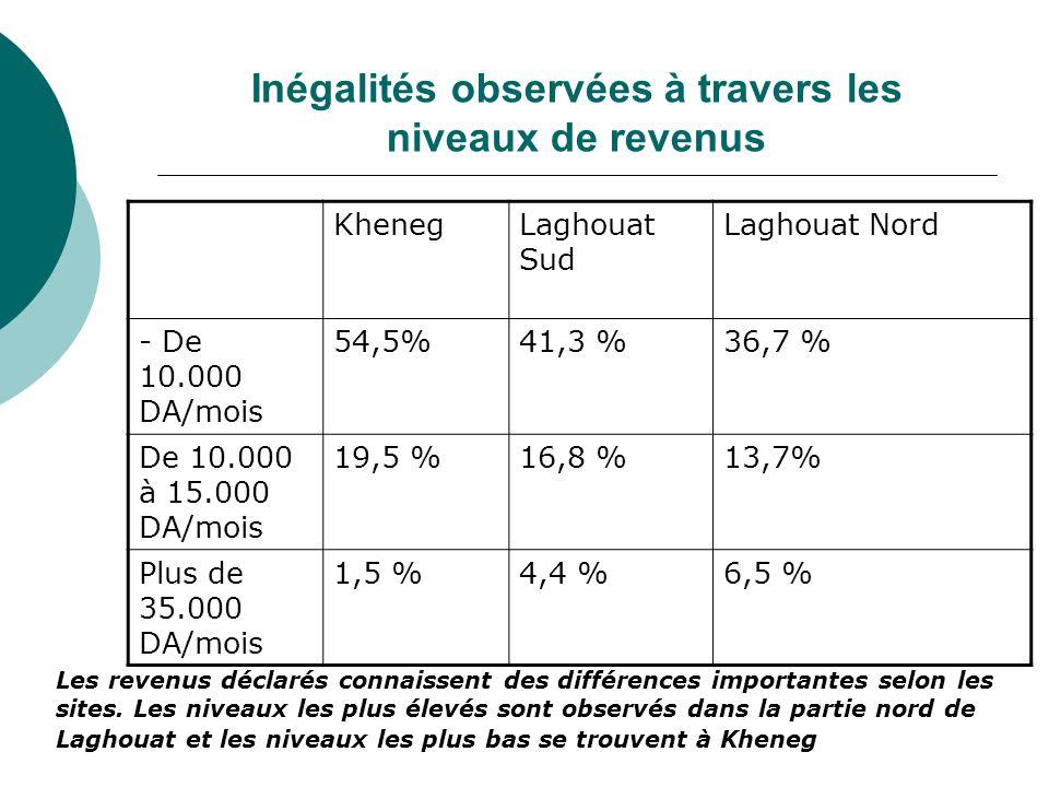 Inégalités observées à travers les niveaux de revenus