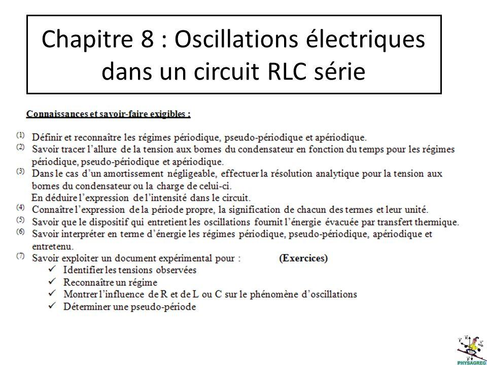 Chapitre 8 : Oscillations électriques dans un circuit RLC série