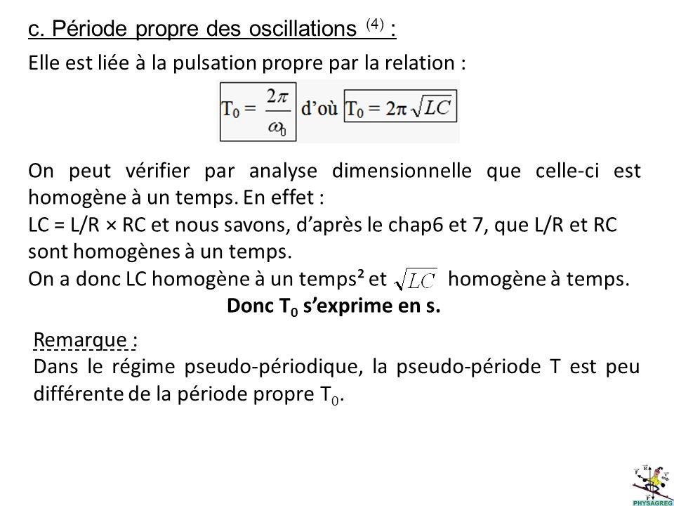 c. Période propre des oscillations (4) :