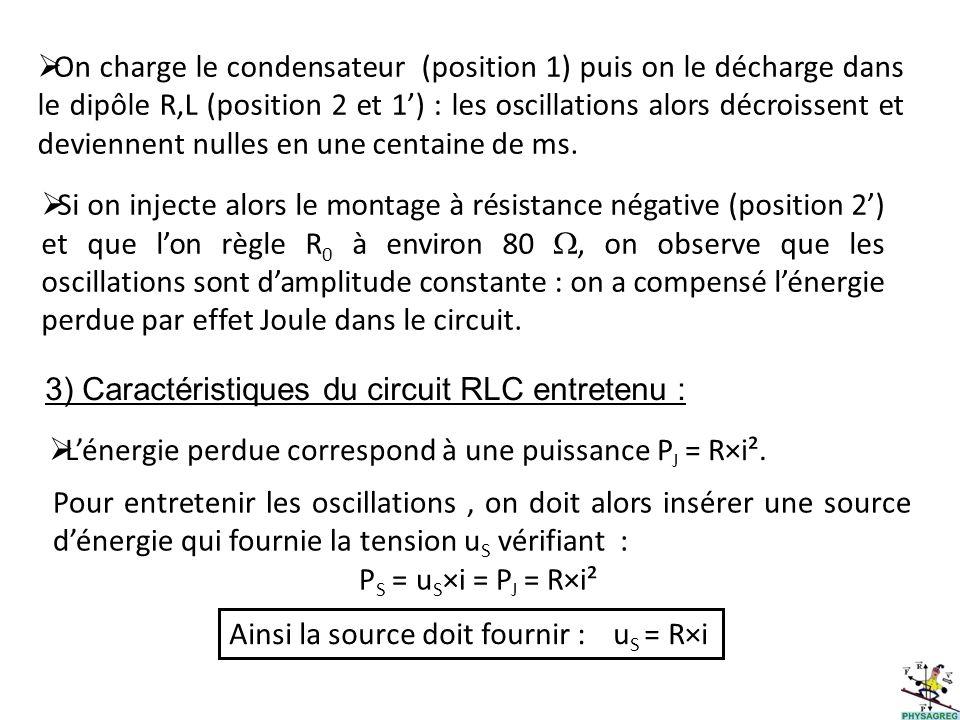 On charge le condensateur (position 1) puis on le décharge dans le dipôle R,L (position 2 et 1') : les oscillations alors décroissent et deviennent nulles en une centaine de ms.
