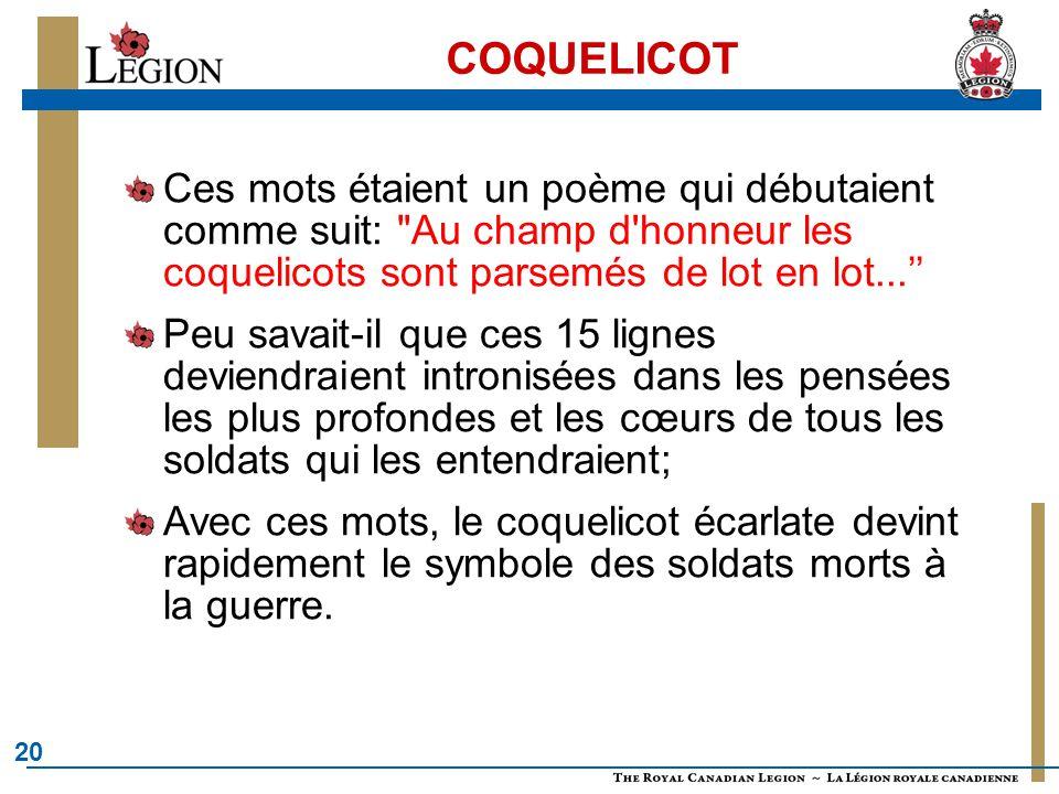 COQUELICOT Ces mots étaient un poème qui débutaient comme suit: Au champ d honneur les coquelicots sont parsemés de lot en lot...''
