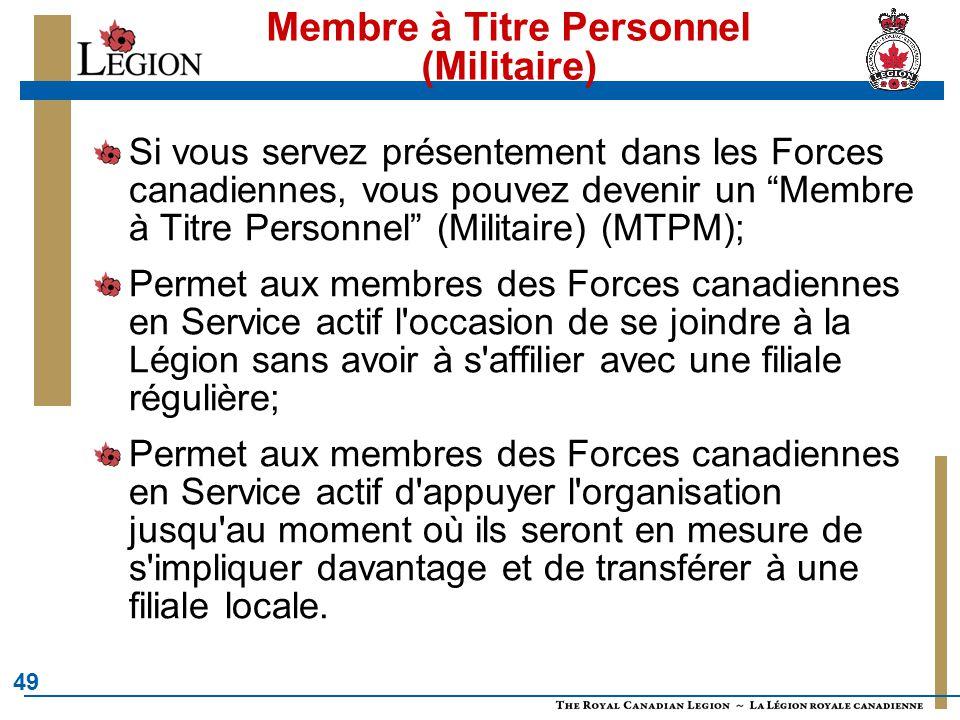 Membre à Titre Personnel (Militaire)