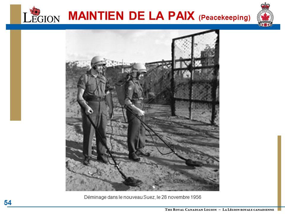 MAINTIEN DE LA PAIX (Peacekeeping)