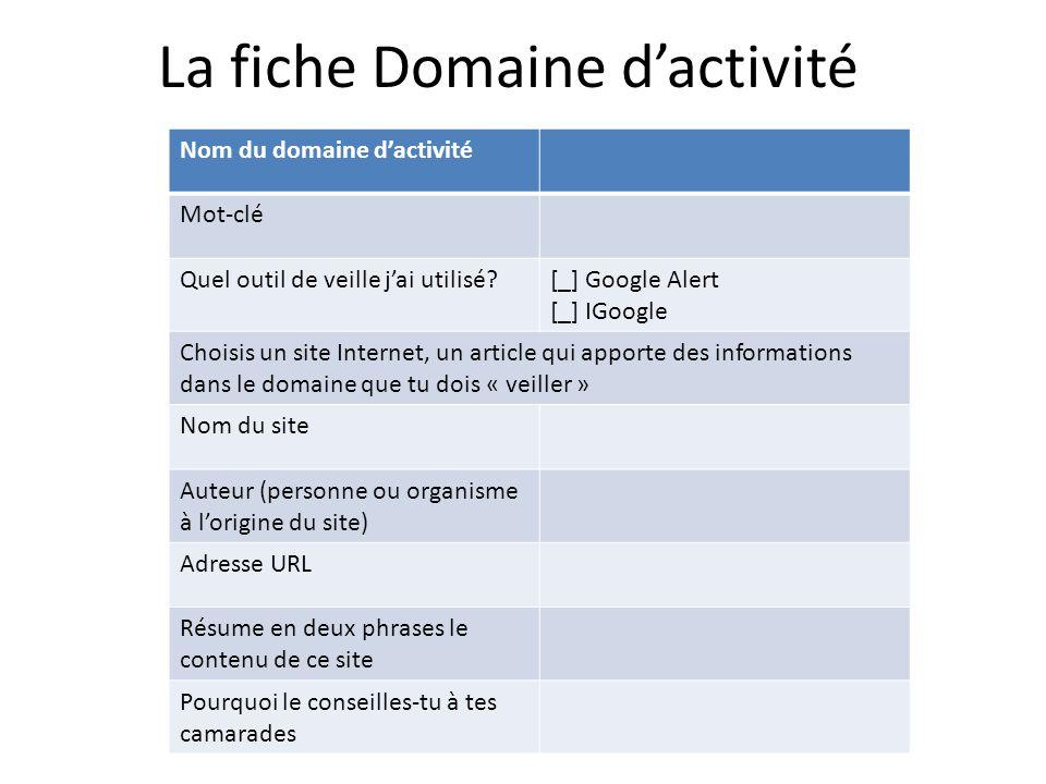 La fiche Domaine d'activité