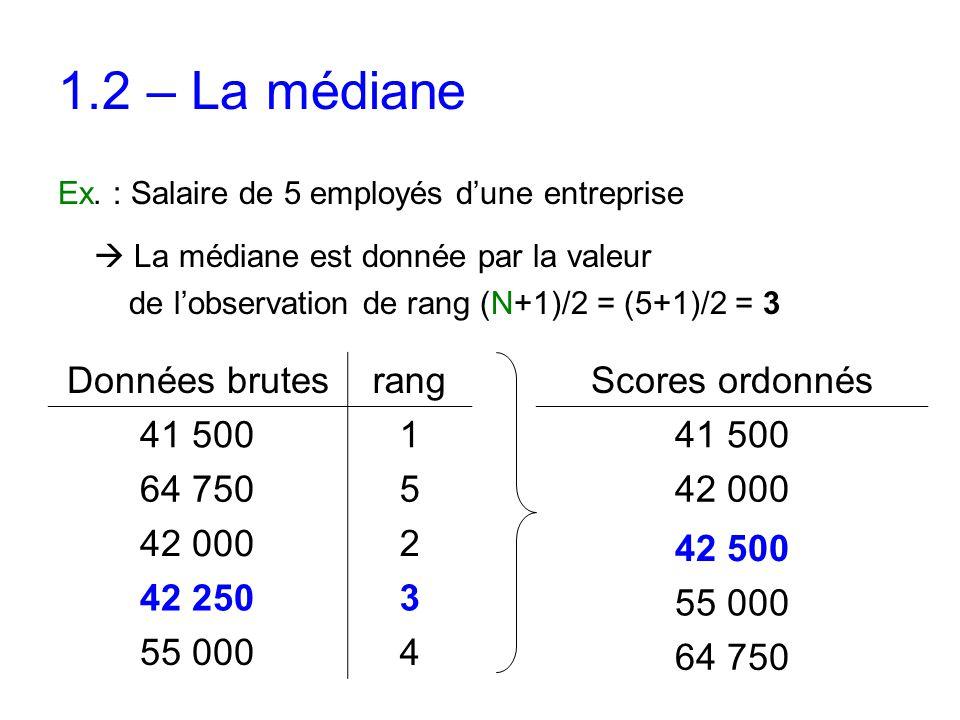 1.2 – La médiane Données brutes rang 41 500 1 64 750 5 42 000 2 42 250