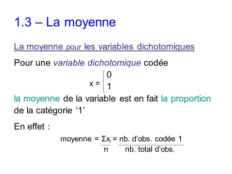 1.3 – La moyenne La moyenne pour les variables dichotomiques