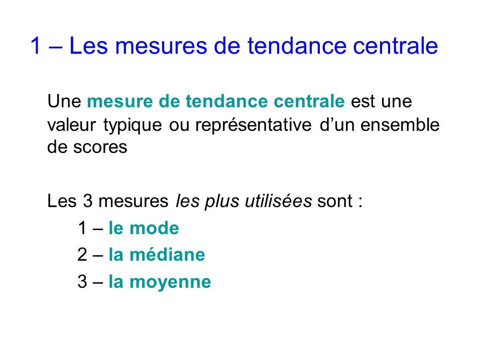 1 – Les mesures de tendance centrale