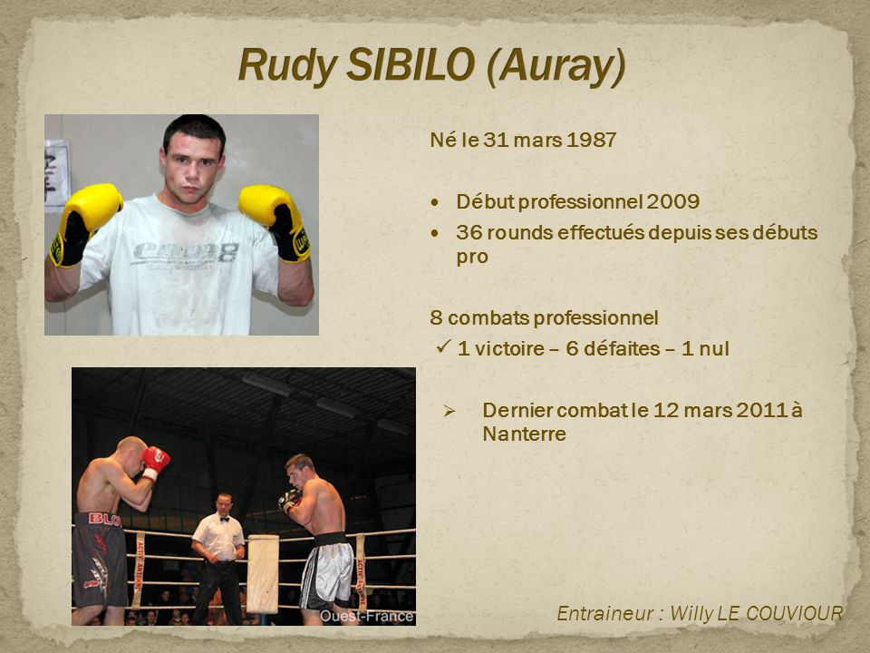 Rudy SIBILO (Auray) Né le 31 mars 1987 Début professionnel 2009