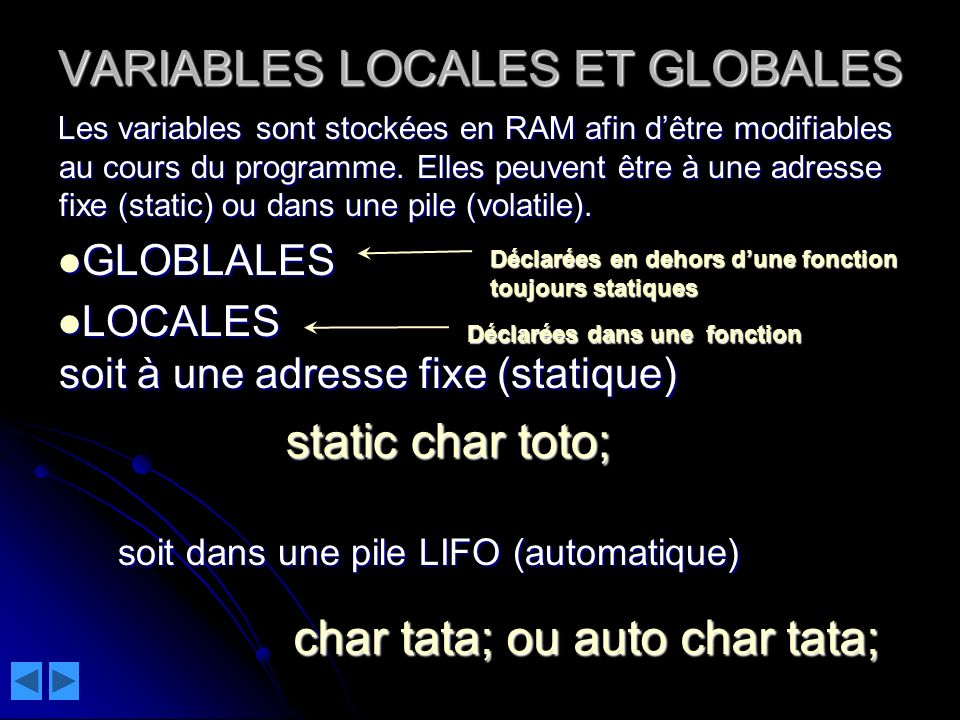 VARIABLES LOCALES ET GLOBALES