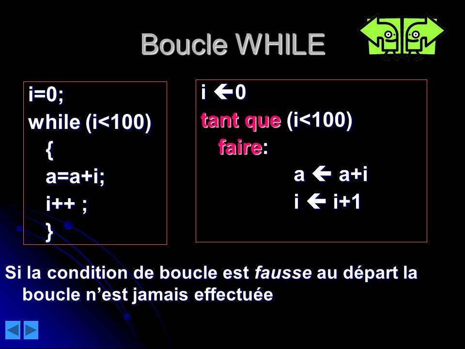 Boucle WHILE i 0 i=0; tant que (i<100) while (i<100) faire: {